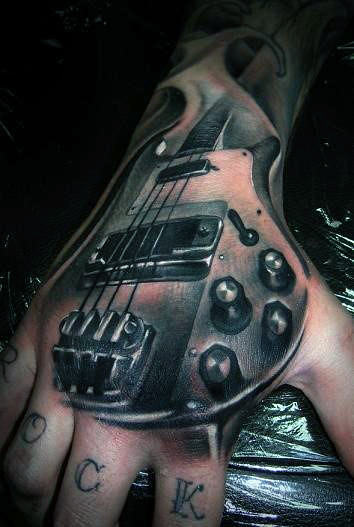 Guitar Realistic Male 3d Tattoo Designs On Hand