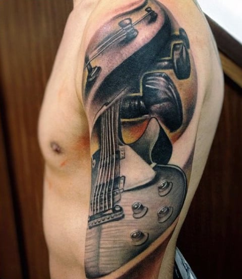 Guitar Sleeve Men's Tattoos