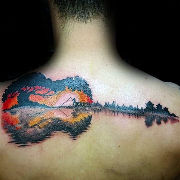 guitar-sunset-with-soundwave-design-upper-back-mens-cool-tattoo-ideas