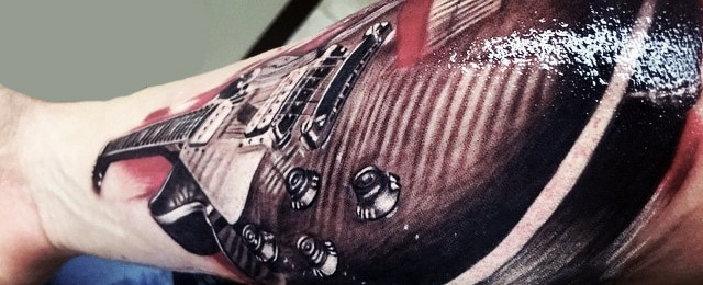 65 Guitar Tattoos For Men – Manly Acoustic And Electric Designs