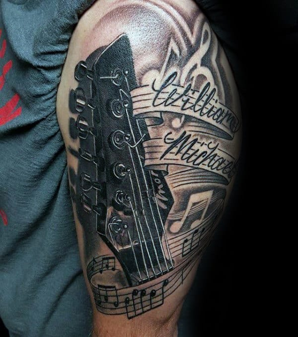 Guitar With Music Note Mens Upper Arm Tattoos