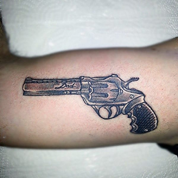 Gun And Dad Tattoo Male Arms