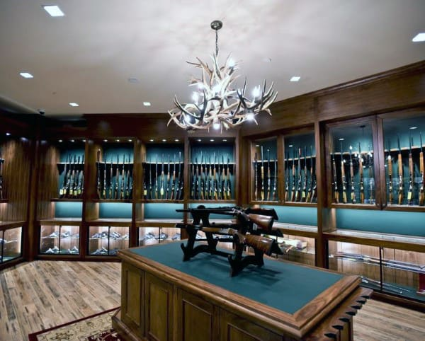 Gun Display Room Design With Wooden Cabinetry