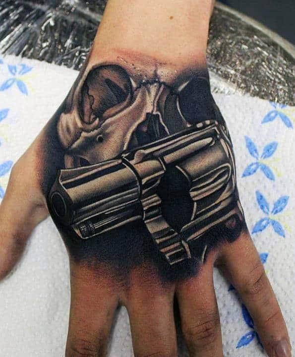 Gun Hand Tattoos For Men