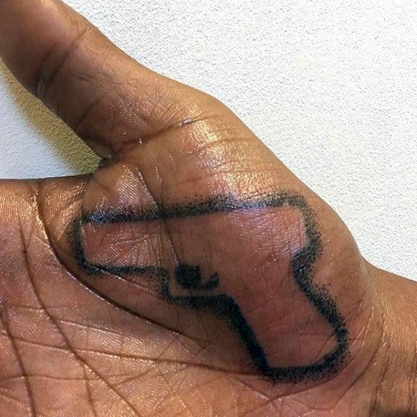 Gun Outline Tattoo Male Palm