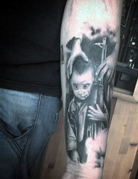 Gun Tattoo On Hand For Males