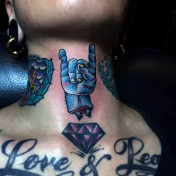 Gus Upper Neck Zombie Hand Tattoo In Blue Ink