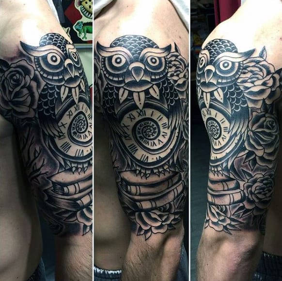 Guy Arms Owl Old Clock And Books Tattoo