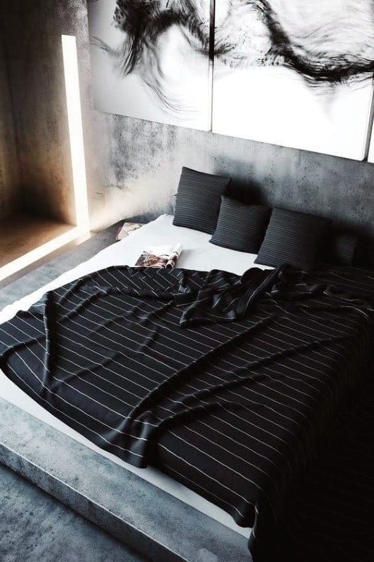 Guy Bedroom Decor With Black Sheets