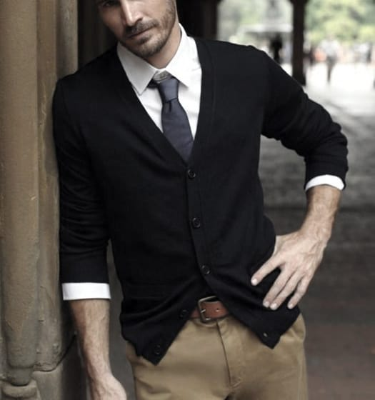 Guy Business Casual Outfits Style Black Sweater Tan Pants