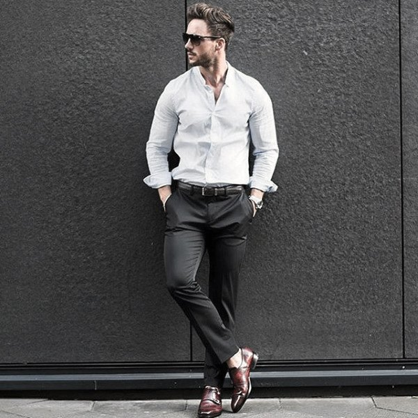 Guy Casual Wear Style Business Casual Dress Shirt And Pants