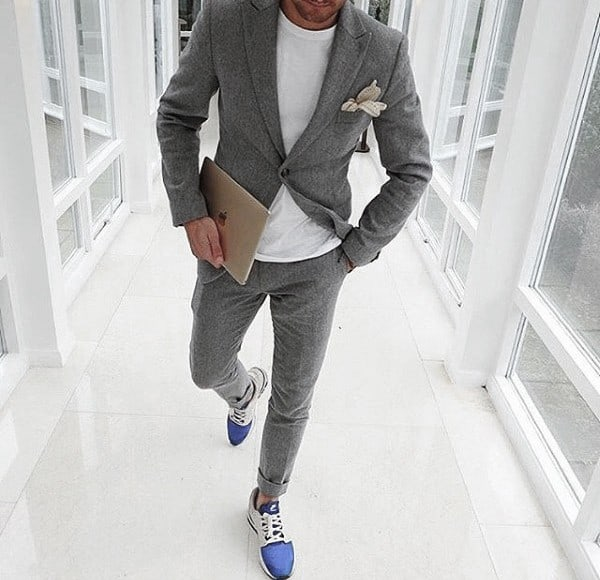 Guy Grey Suit Style No Tie With White Shirt