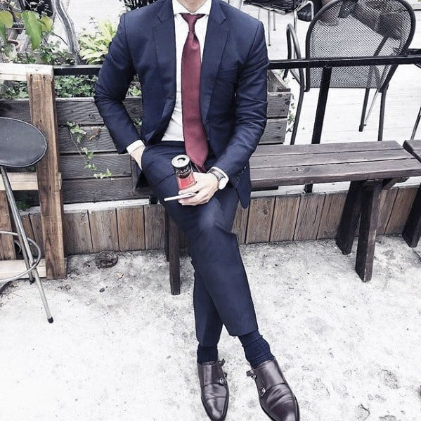 Guy Navy Blue Suit Brown Shoes Style With Red Tie