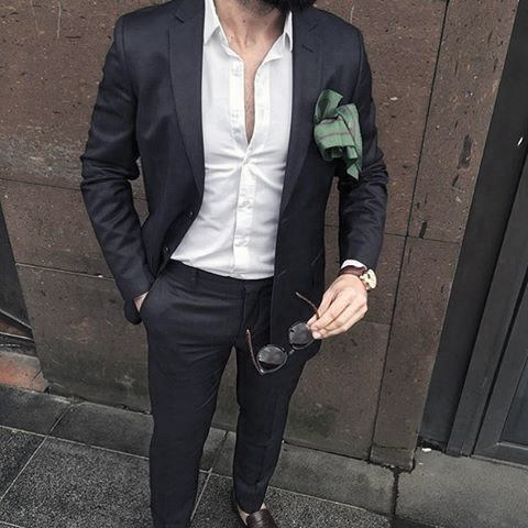 Guy Navy Blue Suit Style With Open White Dress Shirt