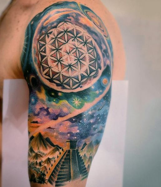 Guy Pretty Geometric Pattern With Universe Design Tattoo On Arms