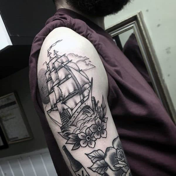 Guy Shaded Black And Grey Male Traditional Ship Tattoo On Arm