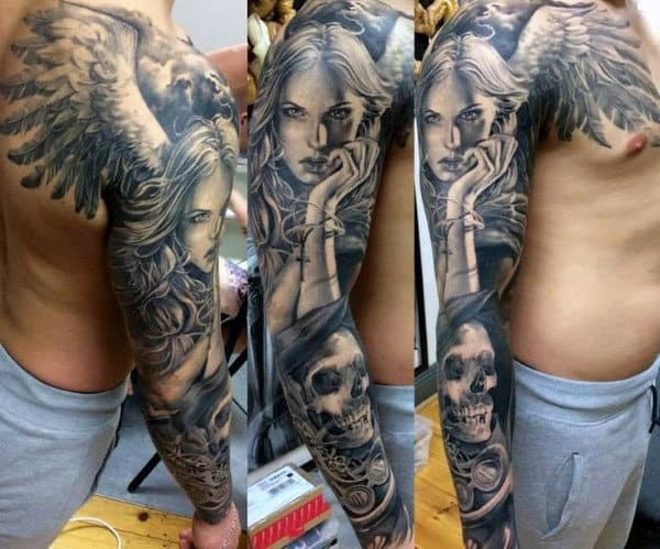 Guy Sleeves Pretty Guardian Angel And Skull Tattoo