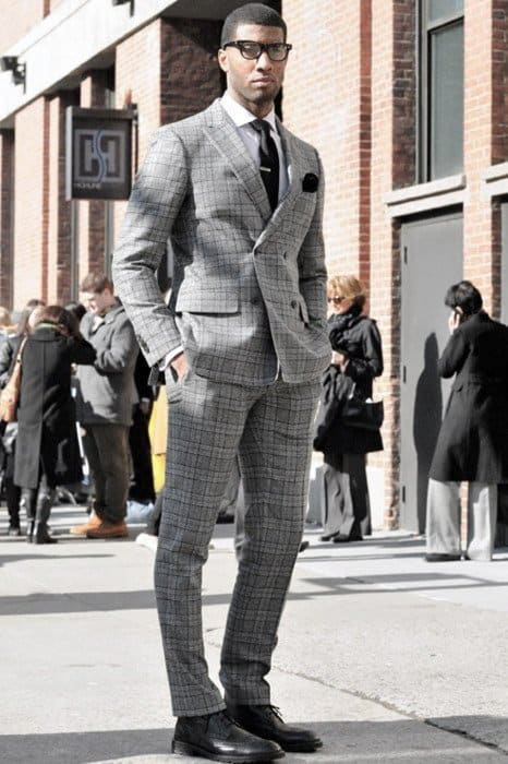 Guy Stylish Professional Charcoal Grey Suit Black Shoes Style