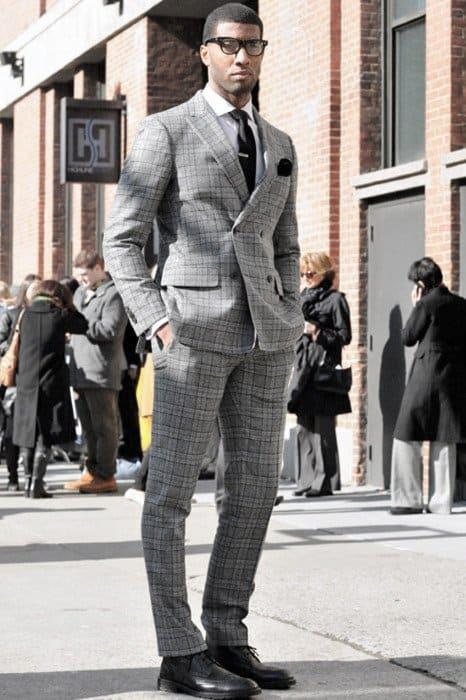 Guy Stylish Professional Charcoal Grey Suit Black Shoes Style