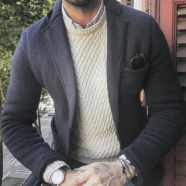 Guy Trendy Outfits Style Cream Knit Sweater With Navy Jacket