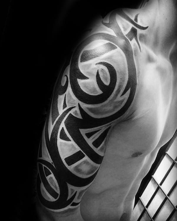 Guy Tribal Half Sleeve Tattoo Design Ideas