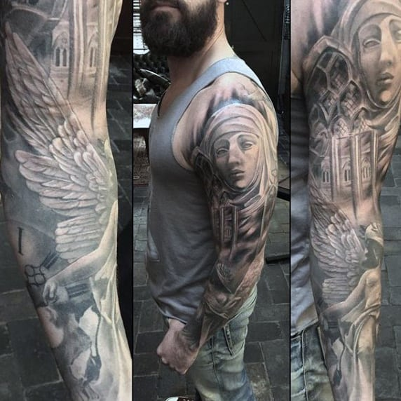 Guy Winged God Religious Tattoo Sleeve