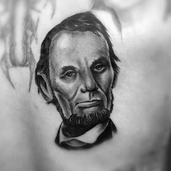 Guy With 3d Back Abraham Lincoln Tattoo Design