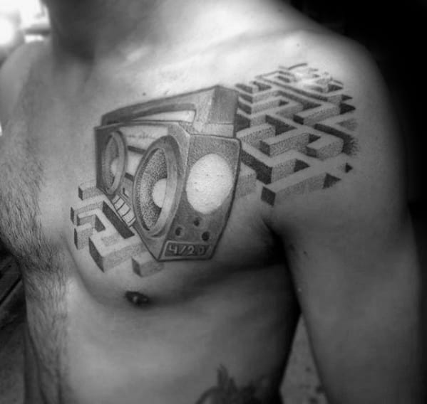 Guy With 3d Boombox Maze Upper Chest Tattoo Design