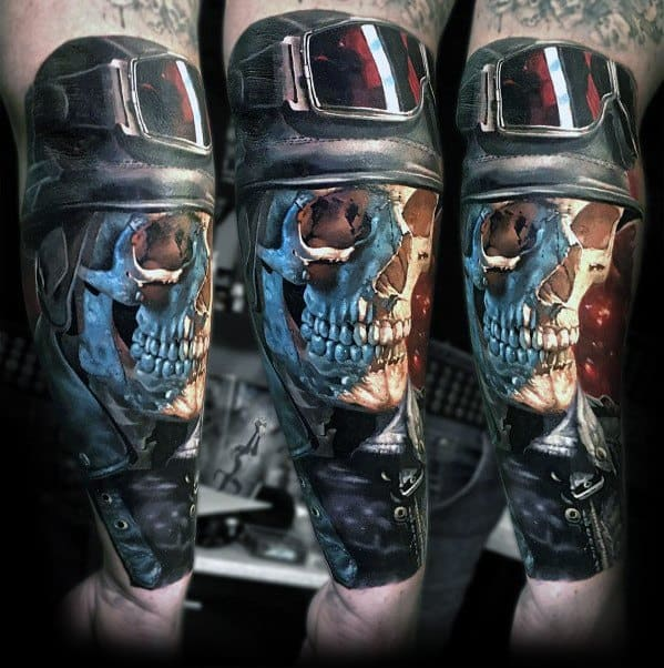 Guy With 3d Forearm Badass Skull Tattoo Design