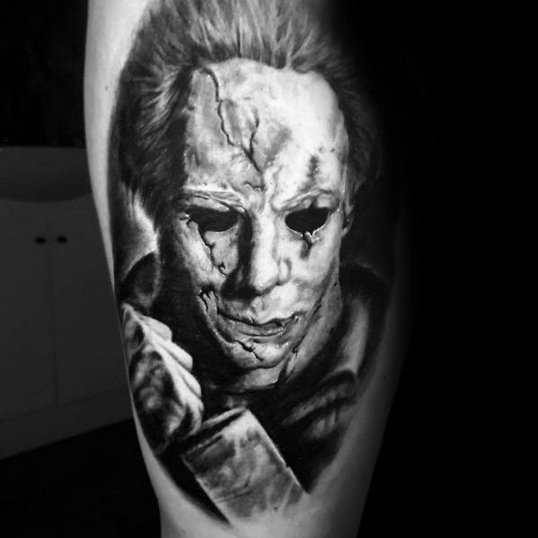 Guy With 3d Michael Myers Tattoo