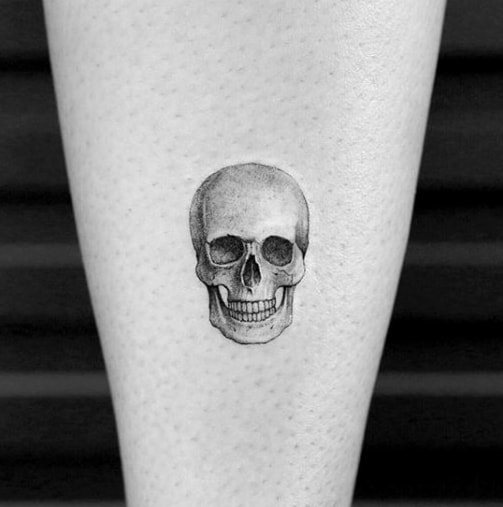 Guy With 3d Skull Quarter Sized Tattoo Design