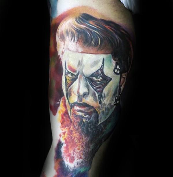 Guy With 3d Slipknot Tattoo Design