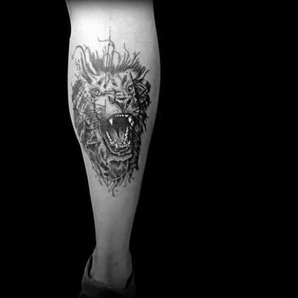 Guy With Abstract Watercolor Lion Leg Calf Tattoo Design