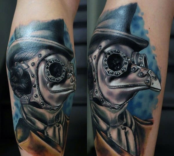 Guy With Alien Steampunk Tattoo On Calves