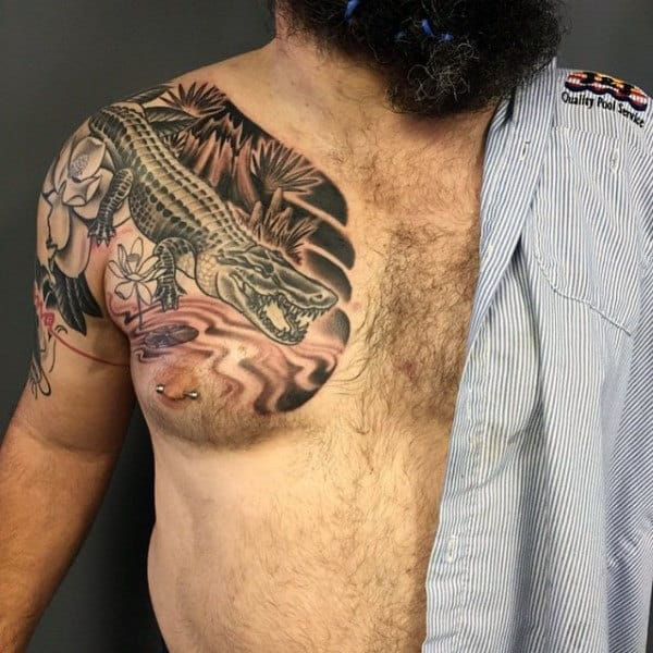 Guy With Alligator Tattoo On Chest
