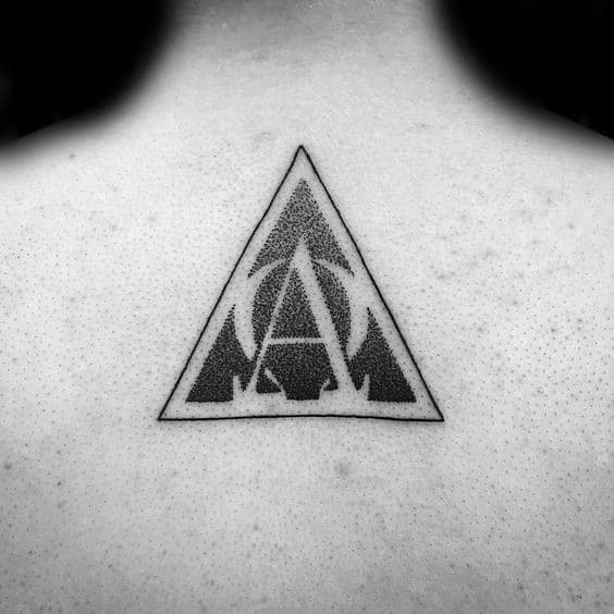Guy With Alpha Omega Dotwork Triangle Upper Back Tattoo