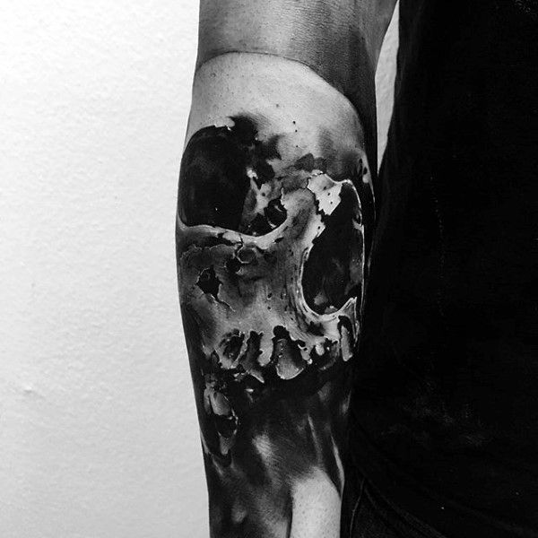 Guy With Amazing 3d Skull Forearm Sleeve Tattoo
