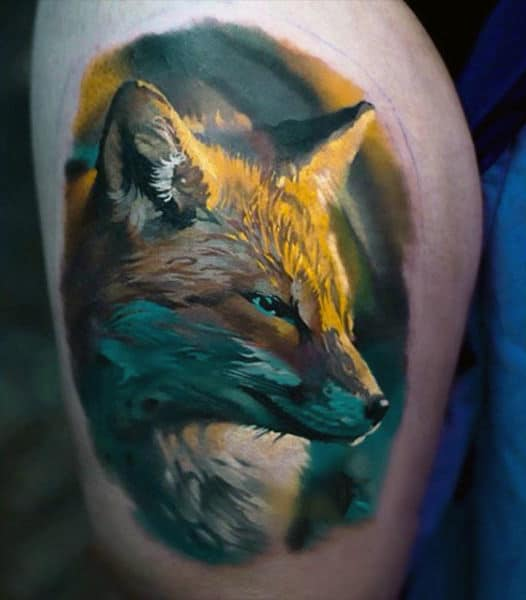 Guy With Amazing Fox Tattoo On Arms