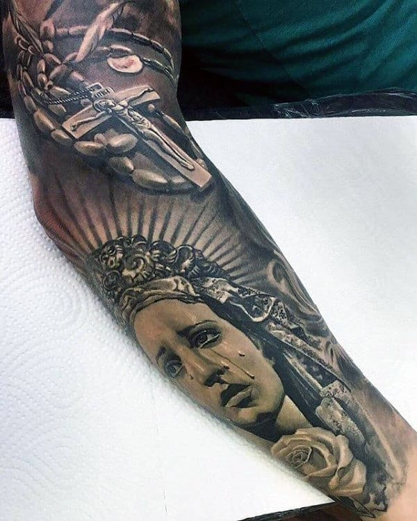 Guy With Amazing Full Sleeve Cross Virgin Mary Tattoo Designs