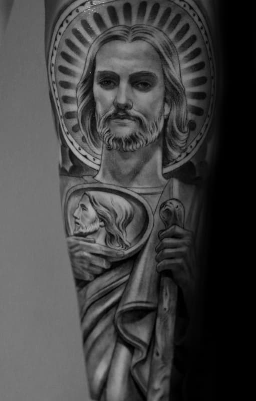 Guy With Amazing St Jude Shaded Religious Forearm Sleeve Tattoo