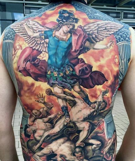 Guy With Angel Micheal Tattoo Designs On Back With Color