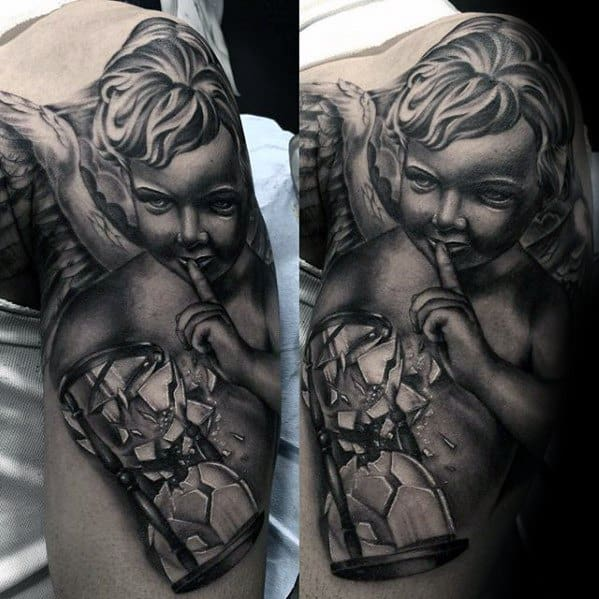 Guy With Angel Statue With Broken Hourglass 3d Arm Tattoo Design