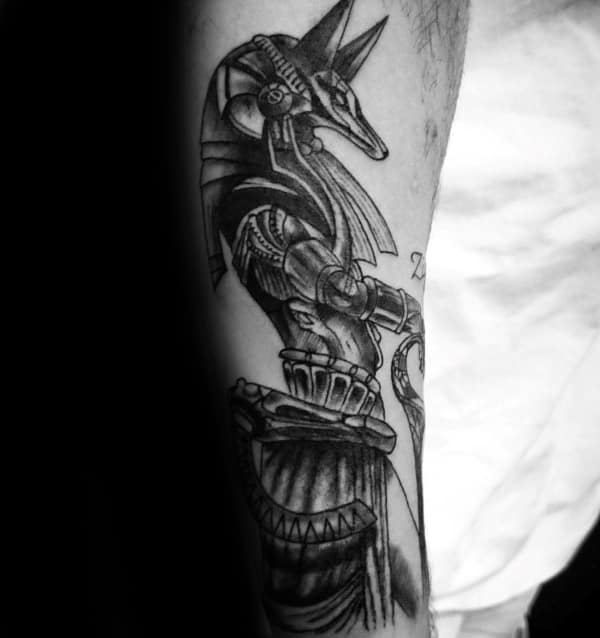 Guy With Anubis Inner Forearm Tattoo With Black Ink