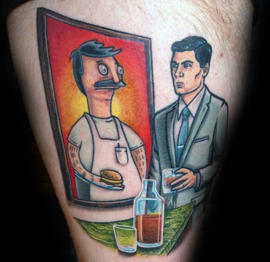 Guy With Archer And Bobs Burgers 3d Thigh Tattoo