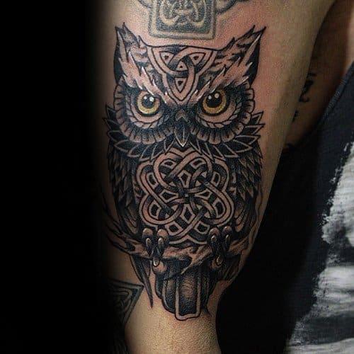 Ideas For Men Scottish Tattoo: 30 Celtic Owl Tattoo Designs For Men