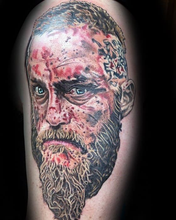 Guy With Arm Ragnar Tattoo Design