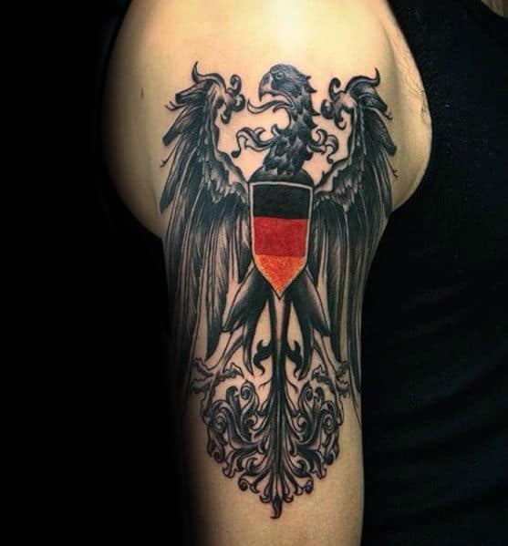 Guy With Arm Tattoo German Eagle Design