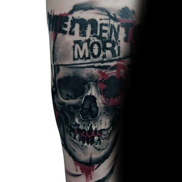 Guy With Arm Trash Polka Tattoo Skull Design Ideas