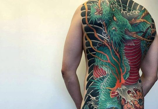 Guy With Awesome Green Chinese Dragon Tattoo Full Back