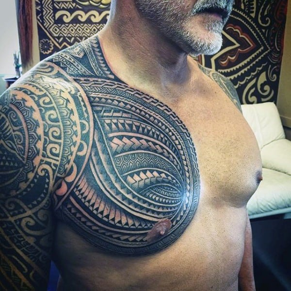 Guy With Awesome Samoan Tribal Chest And Arm Tattoo Design